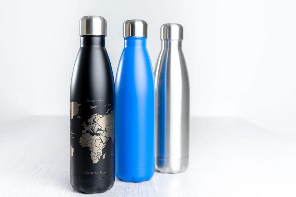 Laserbearbeitung - Logo, Grafik oder Beschriftung auf Trinkflaschen und Thermosflaschen