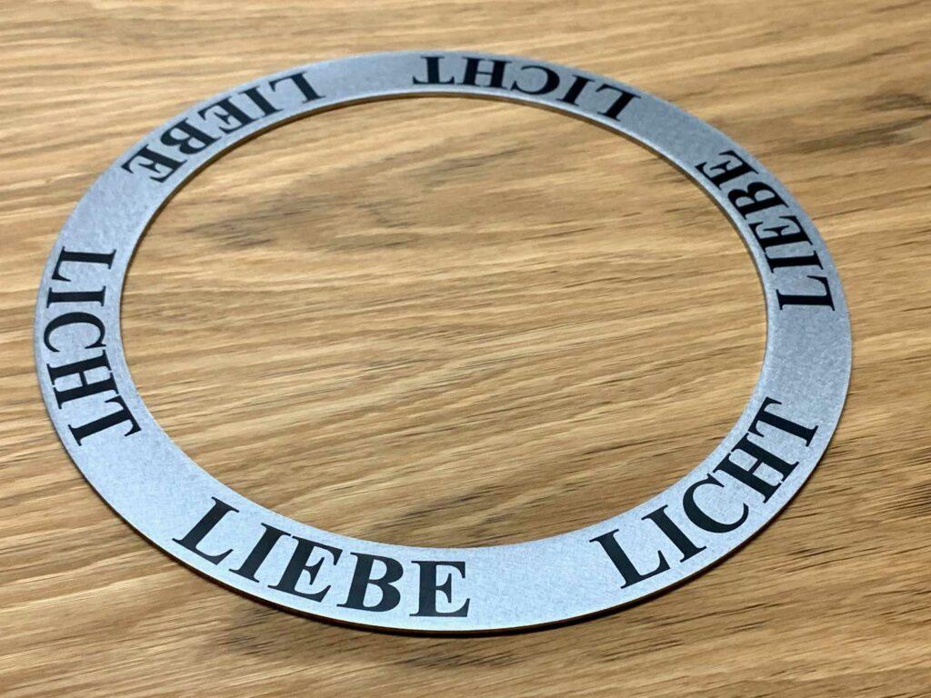 Lasergravur / Beschriftung auf Edelstahl Ring